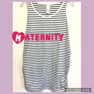 Time Tru Black & White Striped Maternity Tank Top